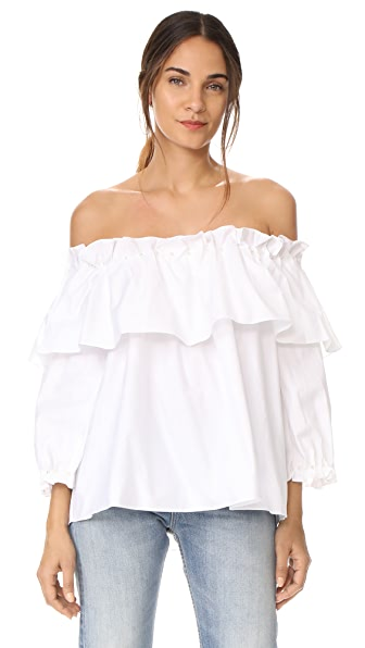 Jonathan Simkhai Ramponi Off Shoulder Top In White/White