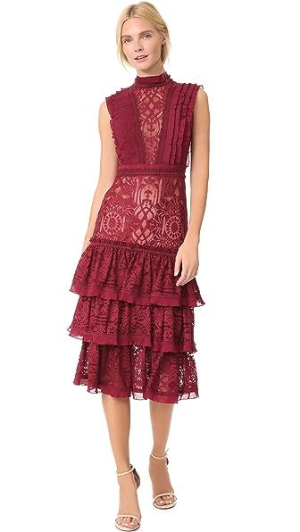 Jonathan Simkhai Tower Mesh Lace Ruffle Layered Dress In Cabernet