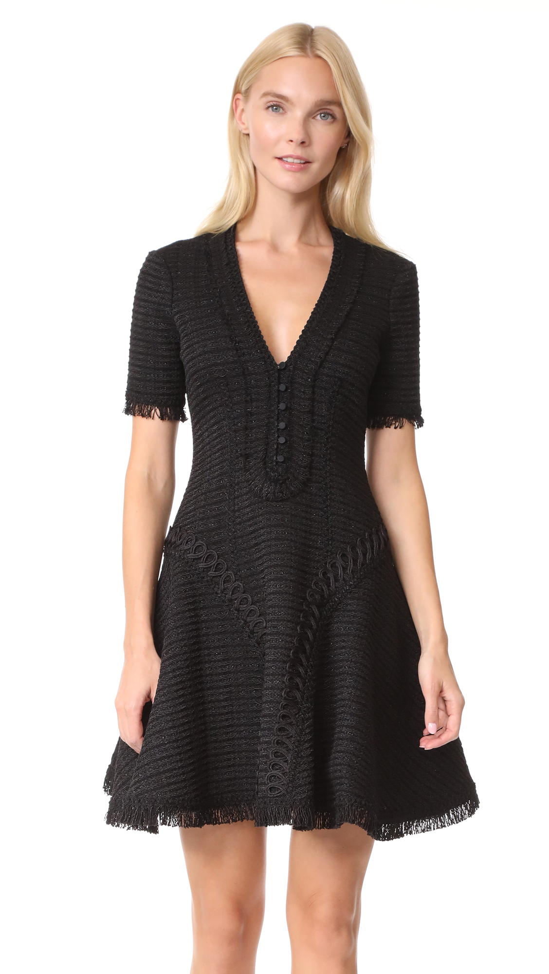 Jonathan Simkhai Polished Tweed Corded Dress - Black