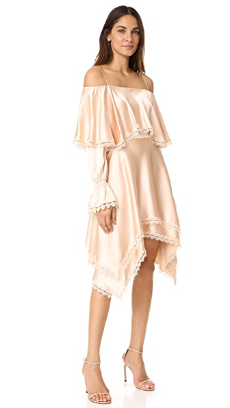 Jonathan Simkhai Off Shoulder Ruffle Dress - Nude