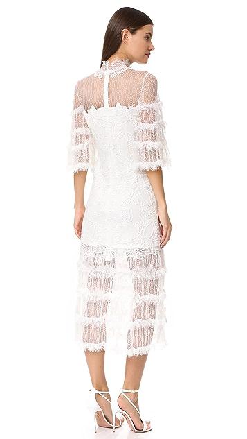 Jonathan Simkhai Thread Mesh Window Lace Long Sleeve Dress