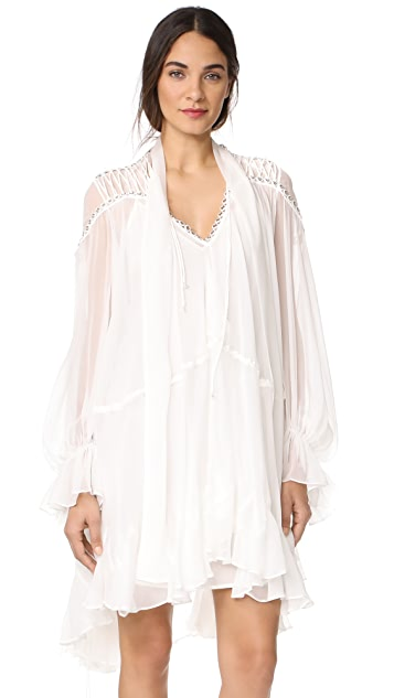 Jonathan Simkhai Grommet Ruffle Silk Mini Dress