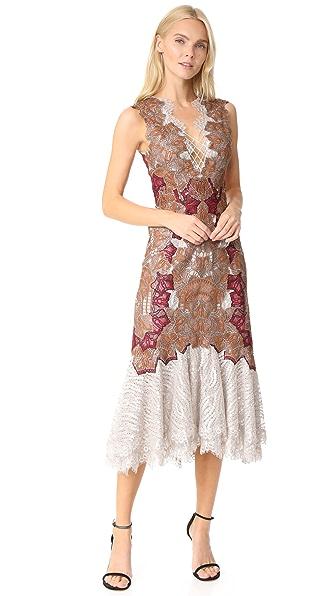 Jonathan Simkhai Dimensional Applique Lace Up Trumpet Dress