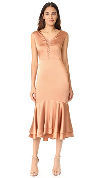 Jonathan Simkhai Fluid Stretch Sateen Lace Up Dress - Rose Gold