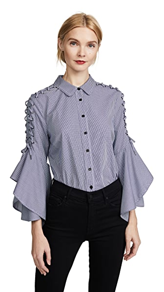 Jonathan Simkhai Whipstitch Bell Sleeve Shirt In Blue Check