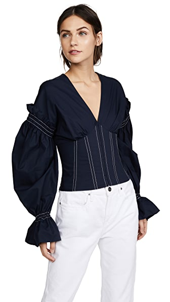 Jonathan Simkhai Ruched Cotton V Neck Corseted Blouse In Midnight