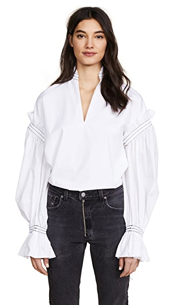 Jonathan Simkhai Rouched Cotton Peasant Top In Ivory