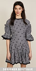 Jonathan Simkhai Smocked Gingham Relaxed Flare Dress