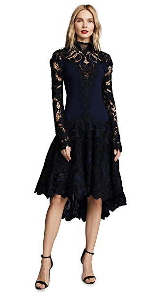 Jonathan Simkhai Crepe Applique Long Sleeve Trumpet Dress In Midnight