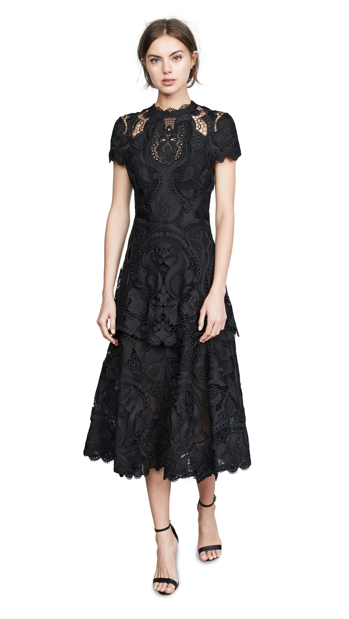 Jonathan Simkhai Crepe Applique Cap Sleeve Midi Dress In Black