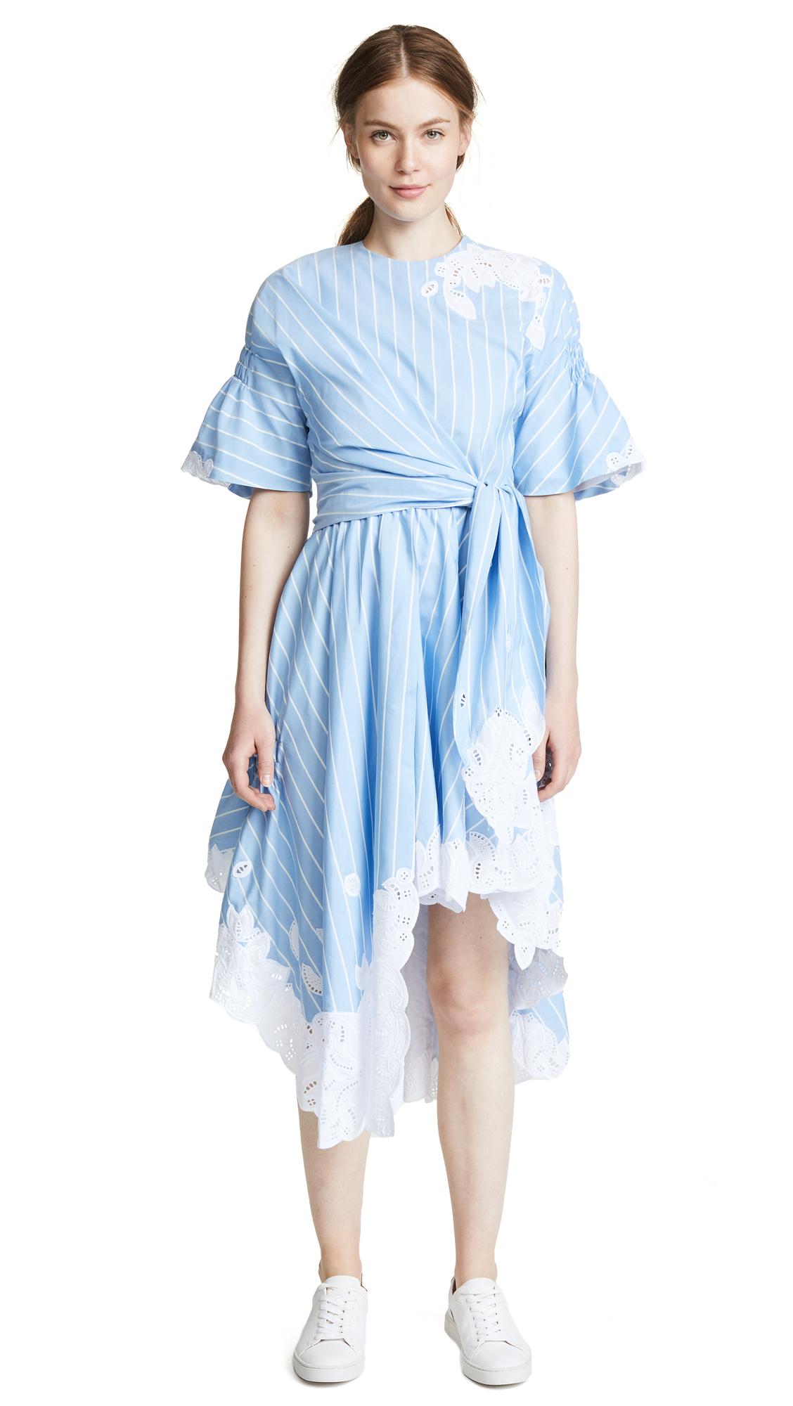 Striped cotton and silk-blend dress
