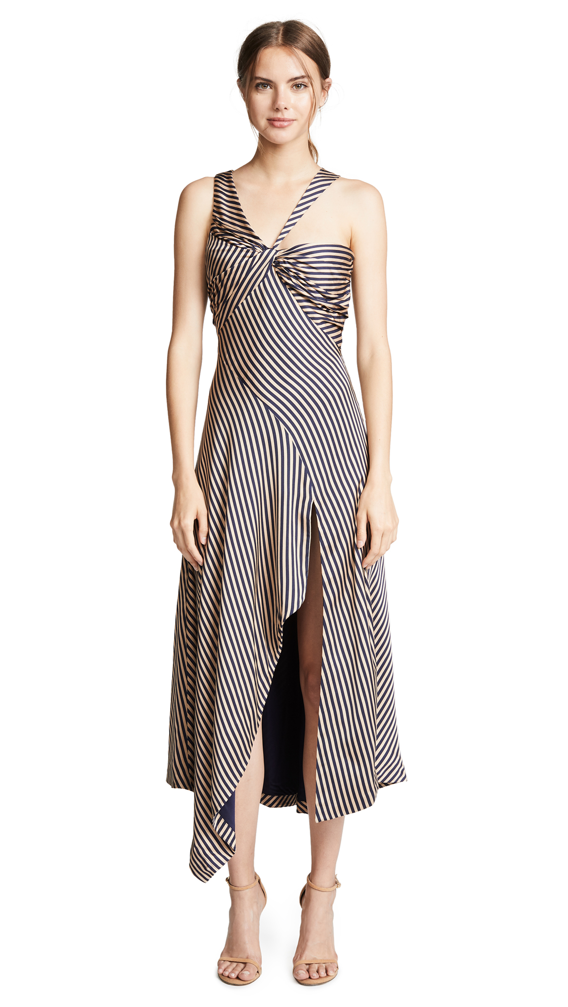 Jonathan Simkhai Stripe Twist Ruffle Dress