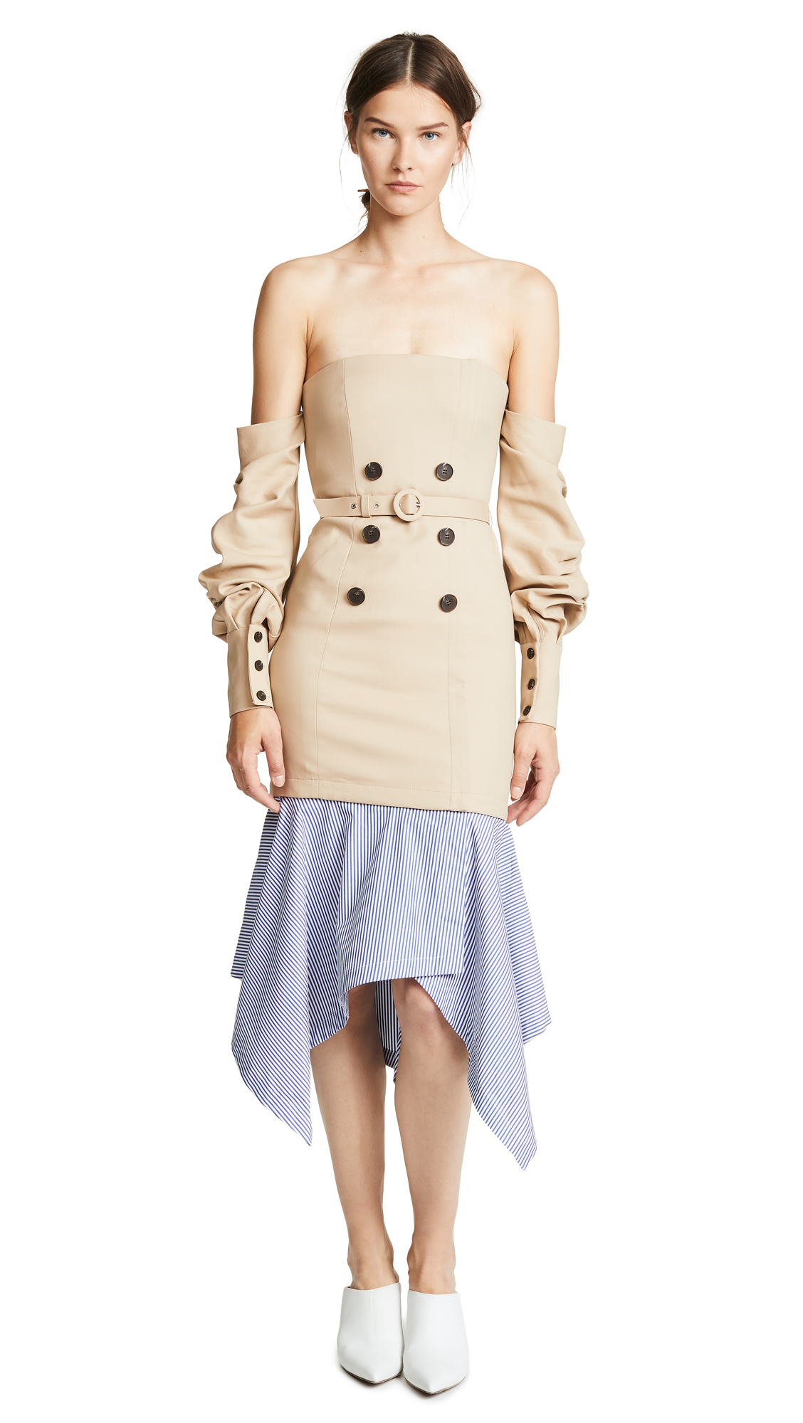 Tailored Corset Dress, Khaki