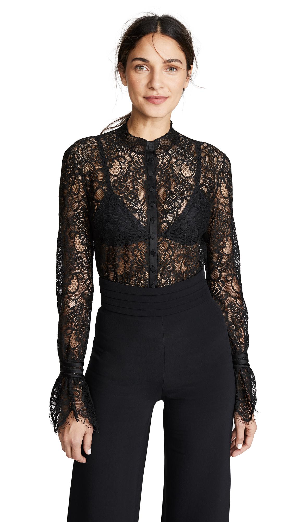 Jonathan Simkhai Mixed Lace Rouched Sleeve Bodysuit In Black