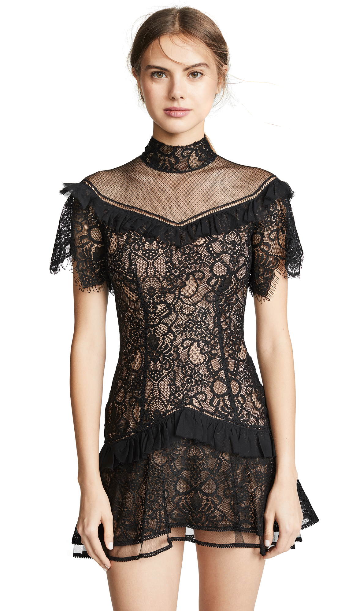 Jonathan Simkhai Mixed Lace Mockneck Minidress