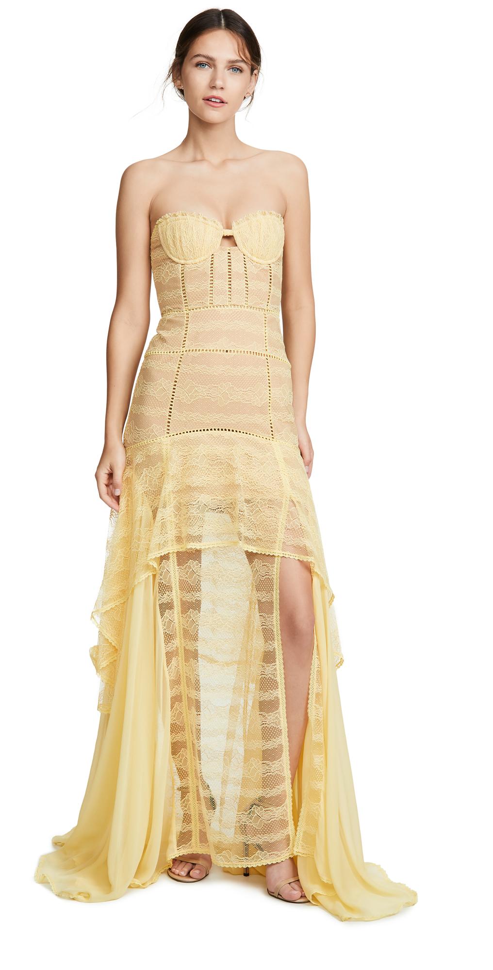 c7c6e3e601cb Jonathan Simkhai Embroidered Chiffon Lace Bustier Gown | SHOPBOP