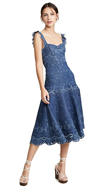 Jonathan Simkhai Eyelet Embroidery Bustier Dress