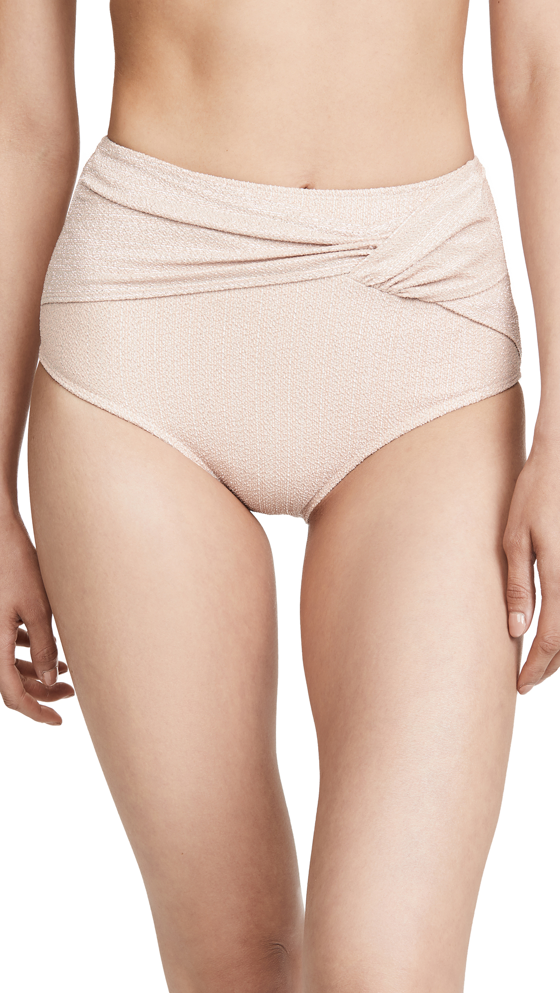 Buy Jonathan Simkhai online - photo of Jonathan Simkhai Metallic Front Twist Bikini Bottoms