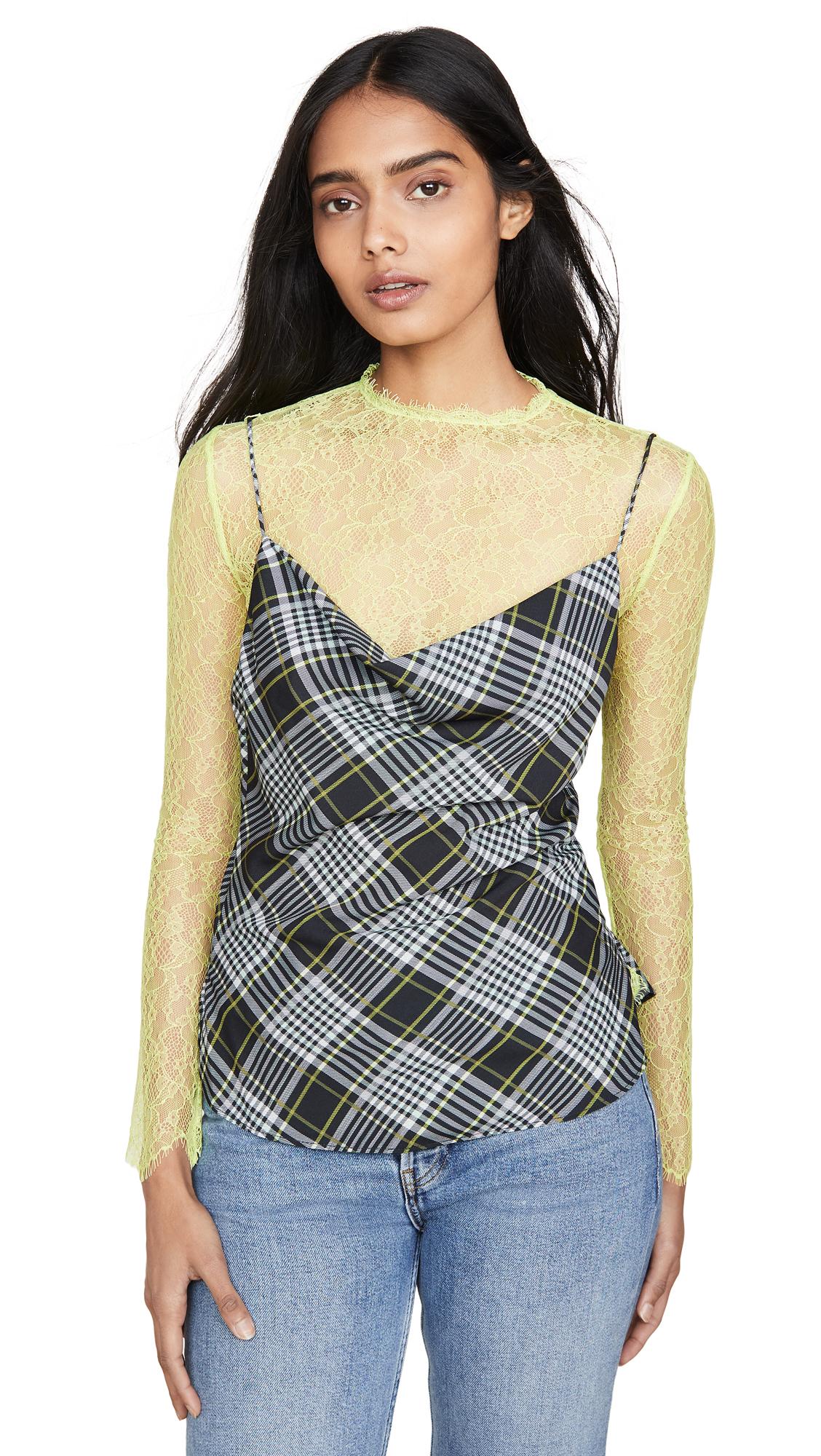 Buy Jonathan Simkhai online - photo of Jonathan Simkhai Plaid Print Long Sleeve Lace Combo Tee