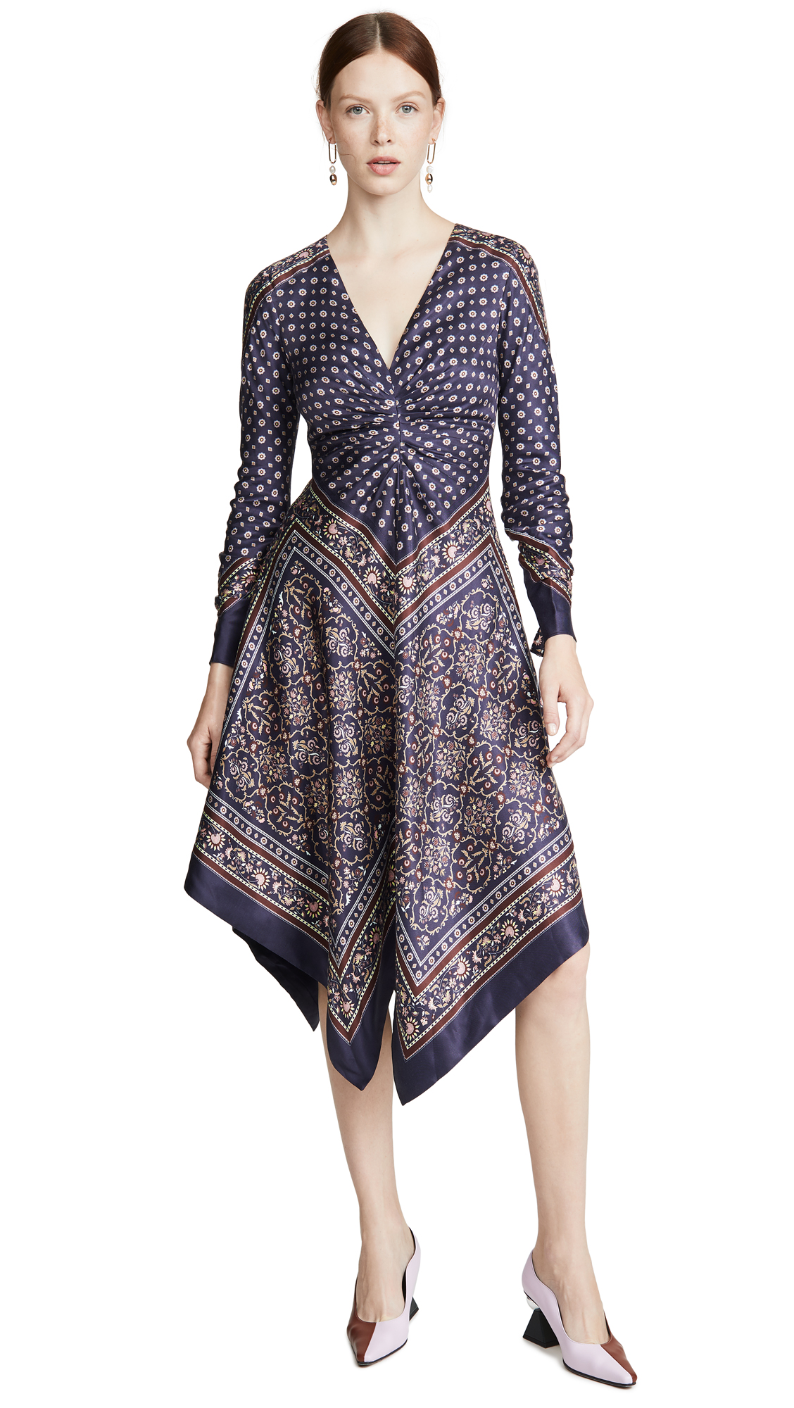 Buy Jonathan Simkhai online - photo of Jonathan Simkhai Scarf Print Deep V Long Sleeve Dress