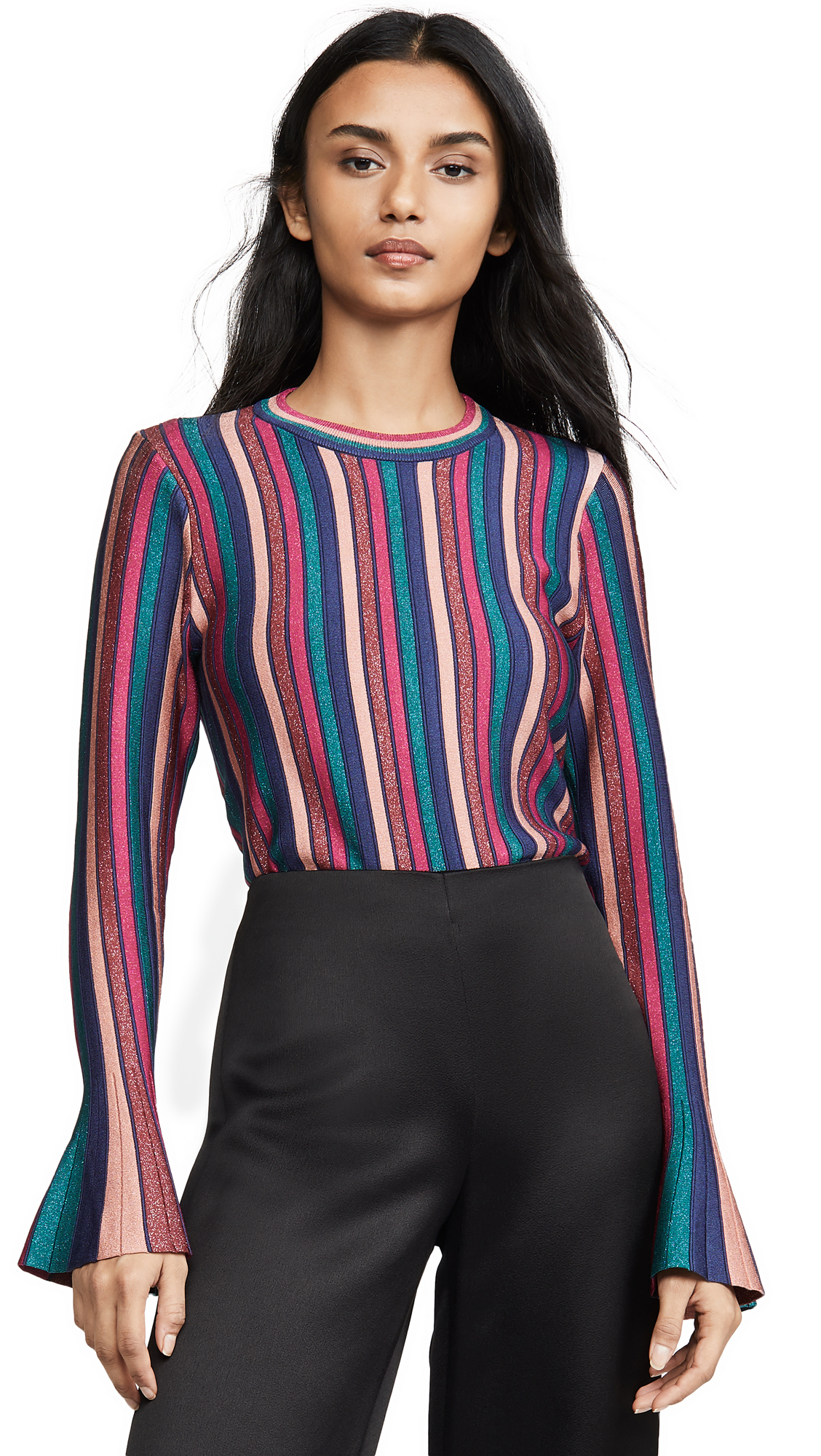 Buy Jonathan Simkhai online - photo of Jonathan Simkhai Metallic Stripes Bell Sleeve Top