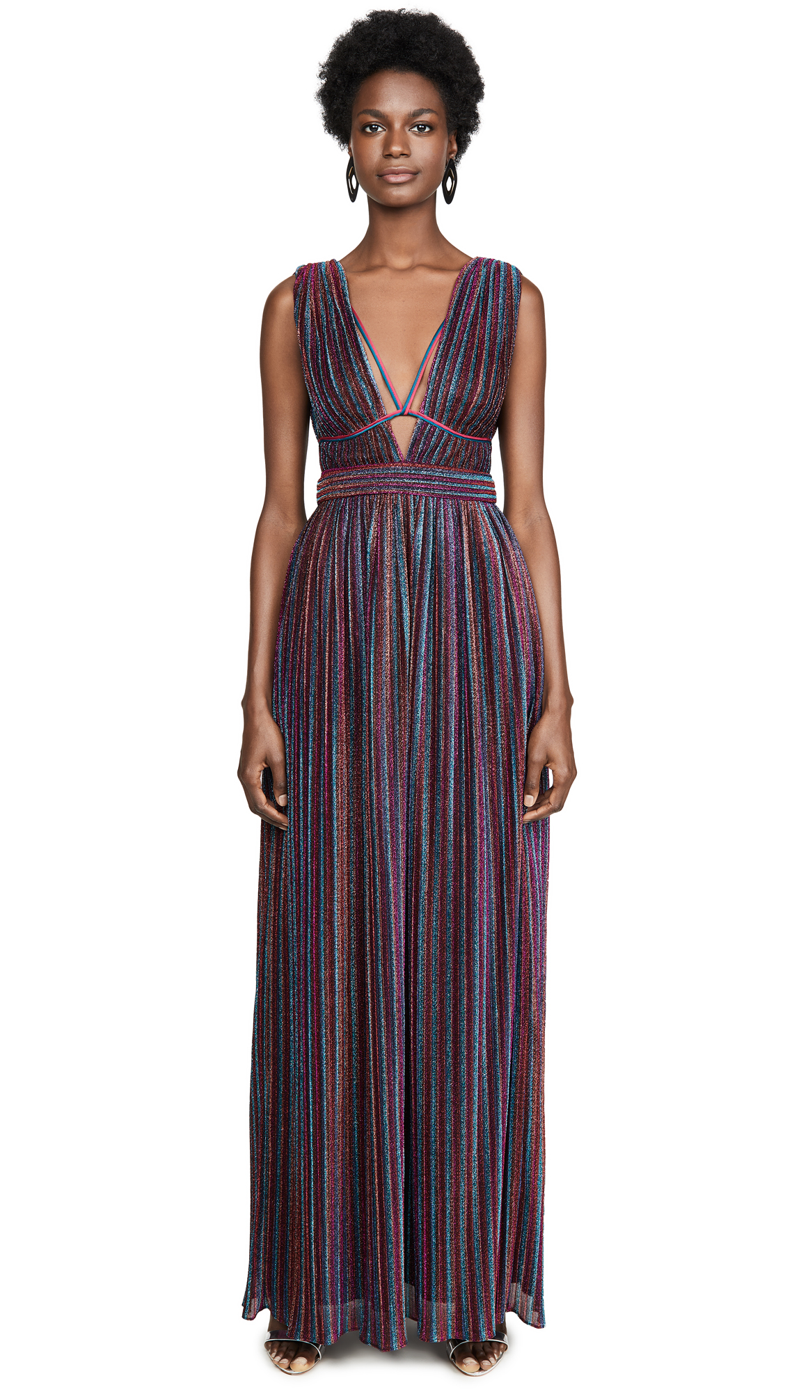 Buy Jonathan Simkhai online - photo of Jonathan Simkhai Rainbow Pleats Open Neck Maxi Dress