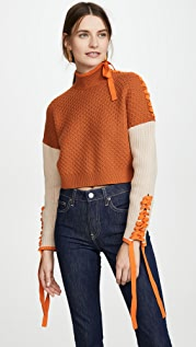 Jonathan Simkhai Braided Cotton Cropped Turtleneck