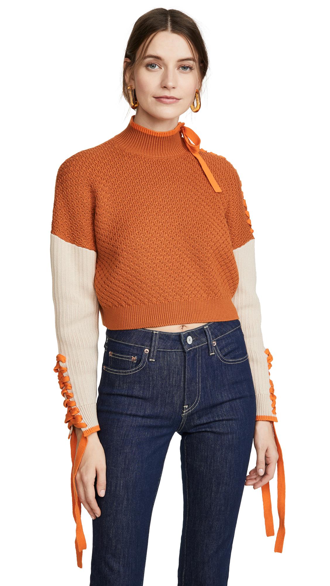 Buy Jonathan Simkhai online - photo of Jonathan Simkhai Braided Cotton Cropped Turtleneck