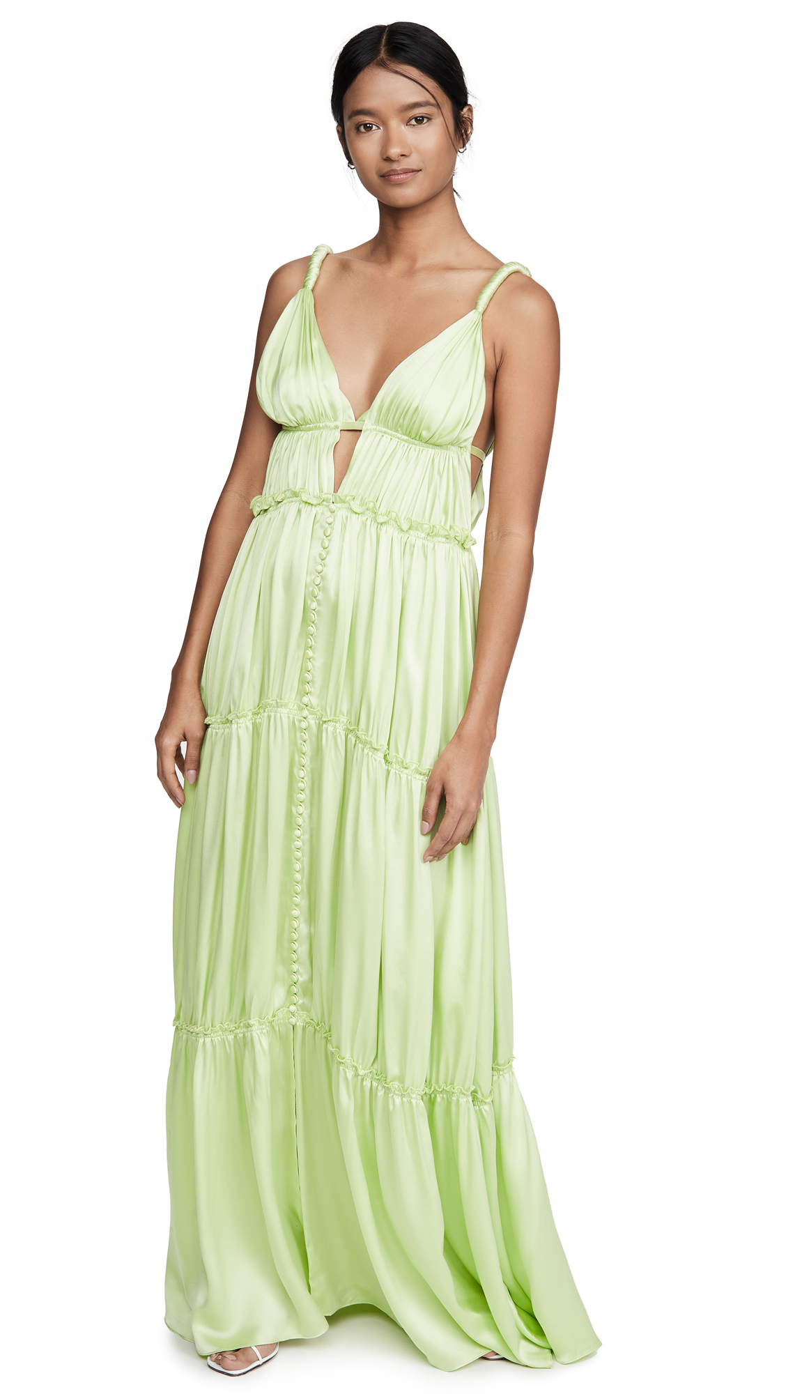 Buy Jonathan Simkhai online - photo of Jonathan Simkhai Jade Sandwashed Charmeuse Dress
