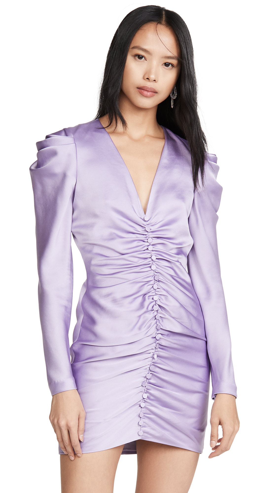 Buy Jonathan Simkhai online - photo of Jonathan Simkhai Crepe Back Satin Puff Sleeve Dress