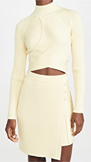 Jonathan Simkhai Camila Compact Cut Out Long Sleeve Top