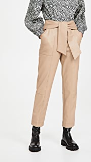 Jonathan Simkhai Tessa Vegan Leather Tie Waist Pants