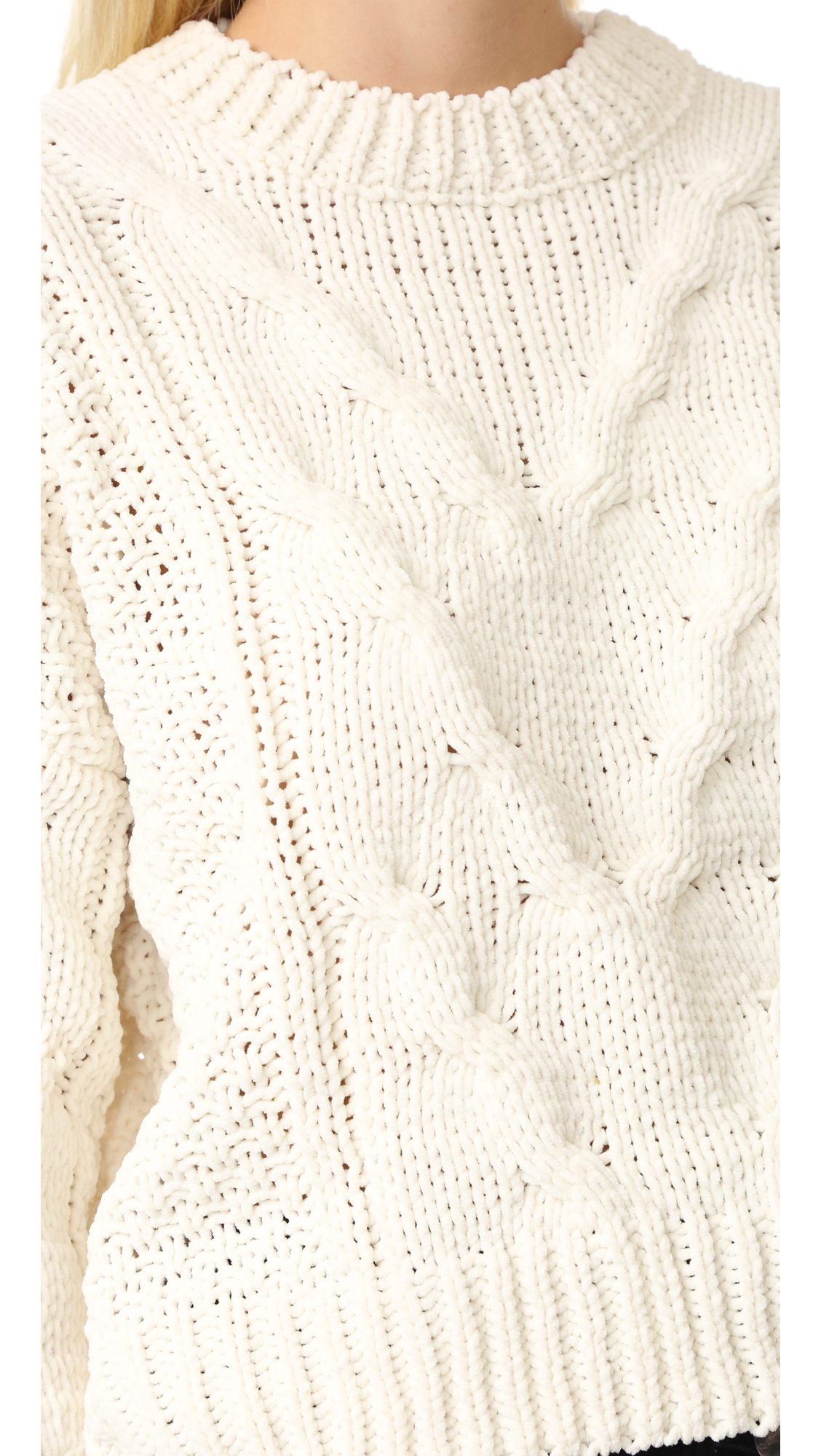 aad3922706 J.O.A. Cable Crew Sweater