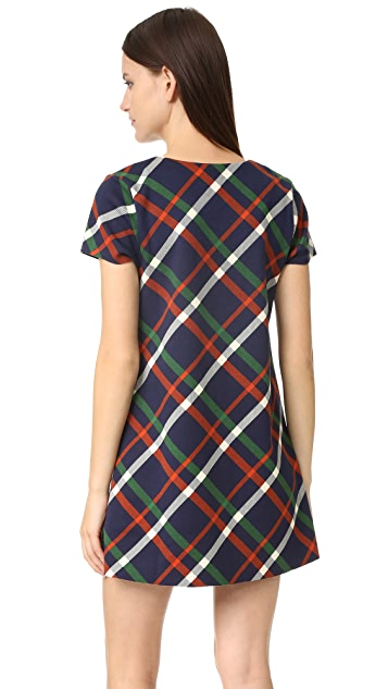 J.O.A. Plaid Lace Up Dress