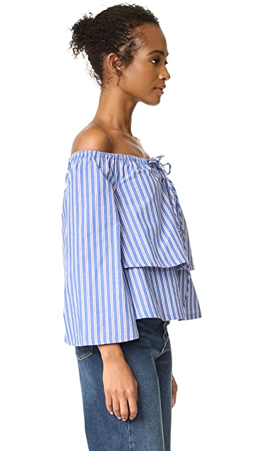 J.O.A. Stripe Shirting Blouse