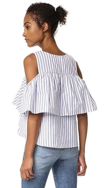 J.O.A. Lace Up Stripe Blouse
