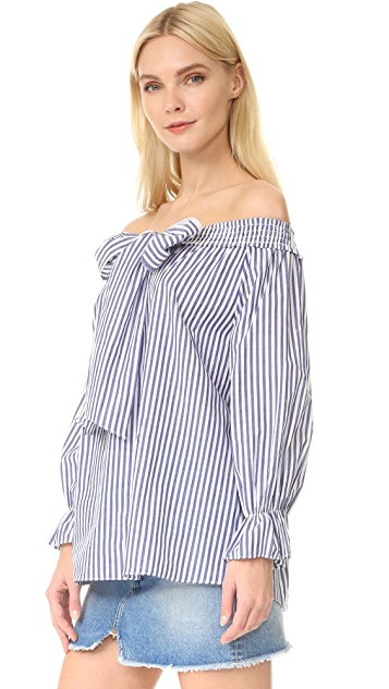 J.O.A. Stripe Off Shoulder Blouse