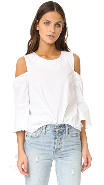 J.O.A. Cascade Sleeve Blouse - White