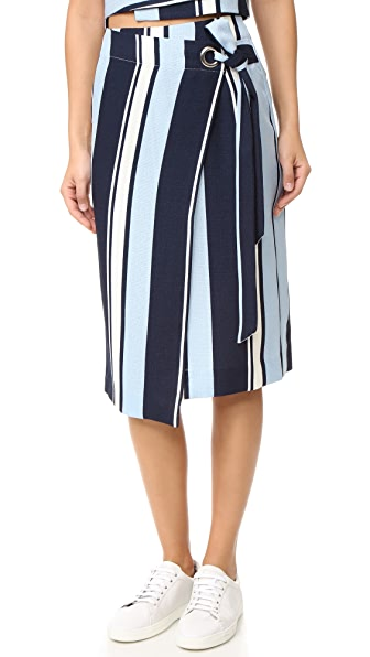 J.O.A. Stripe Wrap Skirt