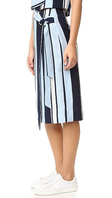 J.O.A. Stripe Wrap Skirt