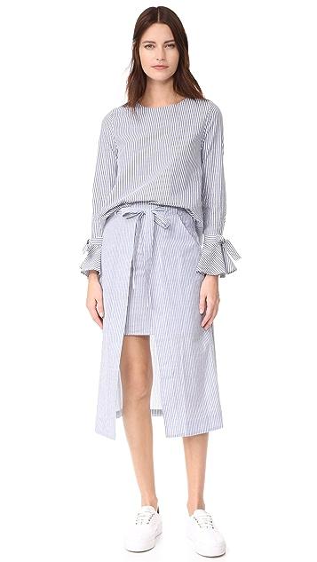J.O.A. Stripe Midi Skirt