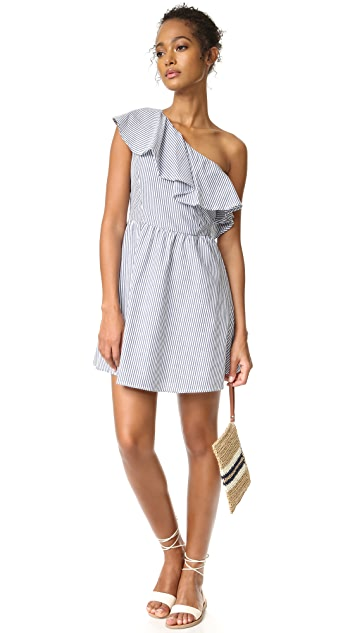 J.O.A. Stripe One Shoulder Dress