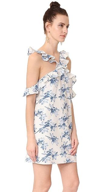 J.O.A. Flower Print Cold Shoulder Dress