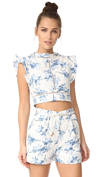 J.O.A. Flower Print Crop Top In White Multi