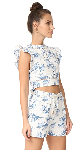J.O.A. Flower Print Crop Top