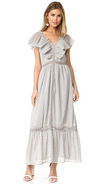 J.O.A. Swiss Dot Maxi Dress - Grey