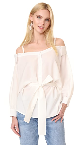 J.O.A. Loose Fit Cold Shoulder Shirt - White