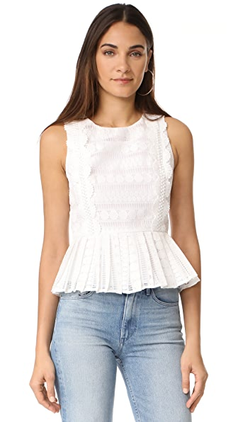 J.O.A. Lace Mix Top - White