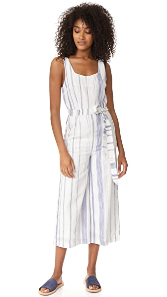J.O.A. Stripe Jumpsuit - Navy/White