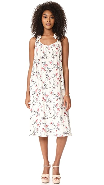 J.O.A. Flower Print Maxi Dress - Off White Multi